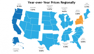 Year over Year Home Prices Regionally